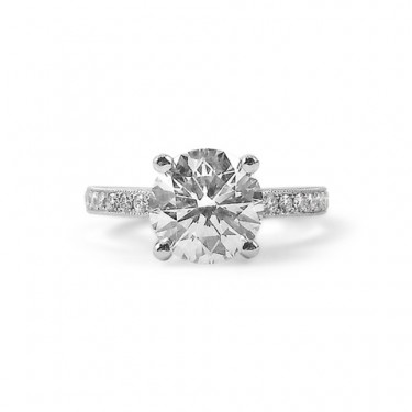 Solitaire Diamond Engagement Ring with Pave Diamonds