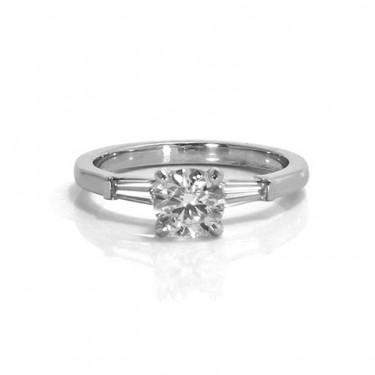 Round Diamond Engagement Ring with Tapered Baguettes