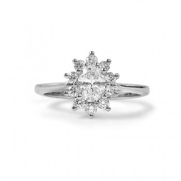 Star Shaped Oval Diamond Halo Engagement Ring