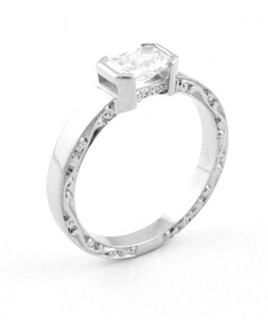 Radiant Cut Engraved Diamond Engagement Ring Toronto
