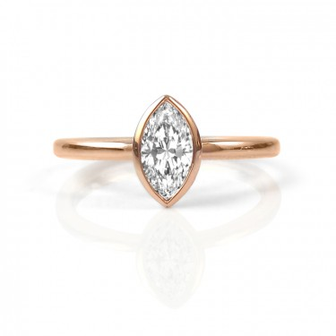 Rose Gold and Canadian Marquise-Shaped Diamond Engagement Ring