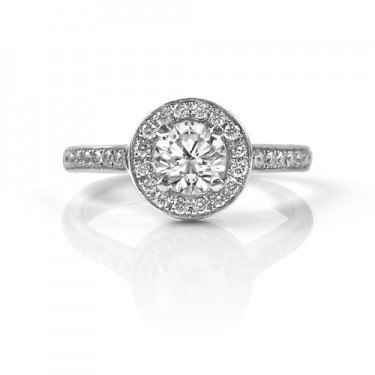 Round Pavé Diamond Halo Engagement Ring