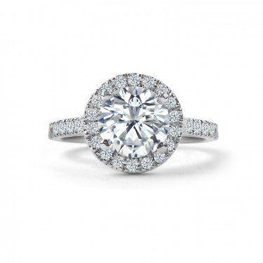 Round Shared Claw Diamond Halo Engagement Ring