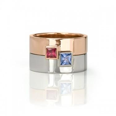 Ruby Sapphire Engagement Ring Set Toronto