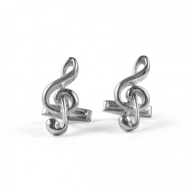 Handmade Sterling Silver Treble Clef Cufflinks