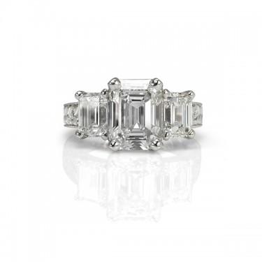 Three Stone Engraved Diamond Engagement Ring Toronto