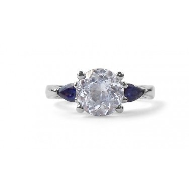 Three Stone Sapphire Engagement Ring