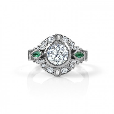 Art Deco Vintage Inspired Engagement Ring with Emerald Accents