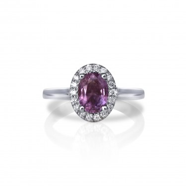 White Gold and Purple Sapphire Engagement Ring with Diamond Halo