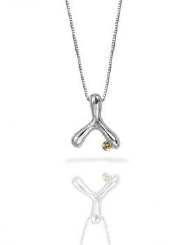 Wishbone Necklace with Gemstone Accent