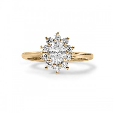 Yellow Gold Star Shaped Oval Diamond Halo Engagement Ring