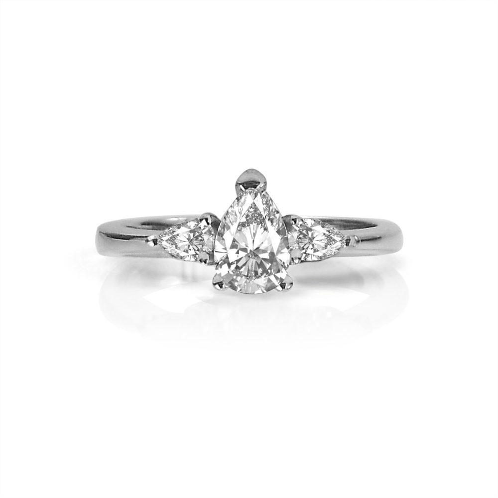 White Gold Pear-Shaped Three-Stone Diamond Engagement Ring