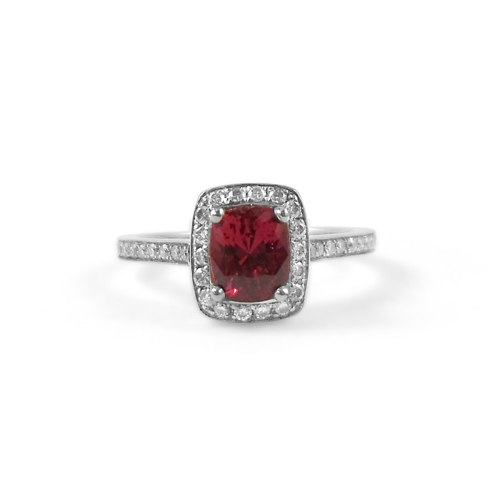 Ruby Engagement Ring with Diamond Halo