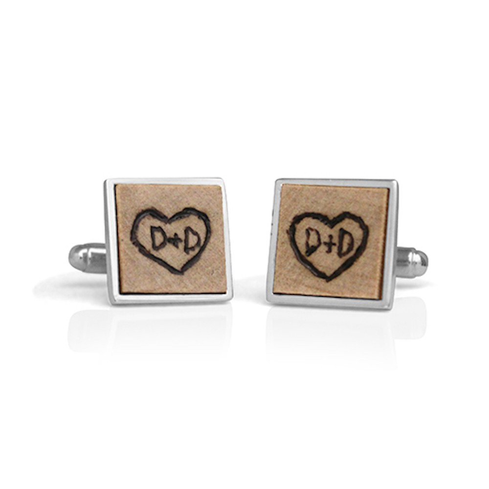 Handmade Sterling Silver Burned Wood Square Bezel Cufflinks
