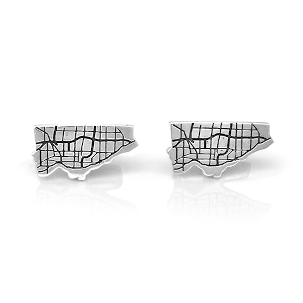 Handmade Sterling Silver Map of Toronto Cufflinks