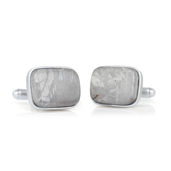 Handcrafted Sterling Silver Cushion Shaped Meteorite Cufflinks