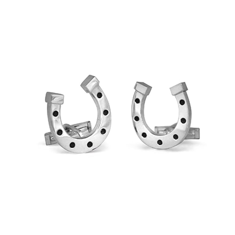 Handmade Sterling Silver Lucky Horseshoe Cufflinks