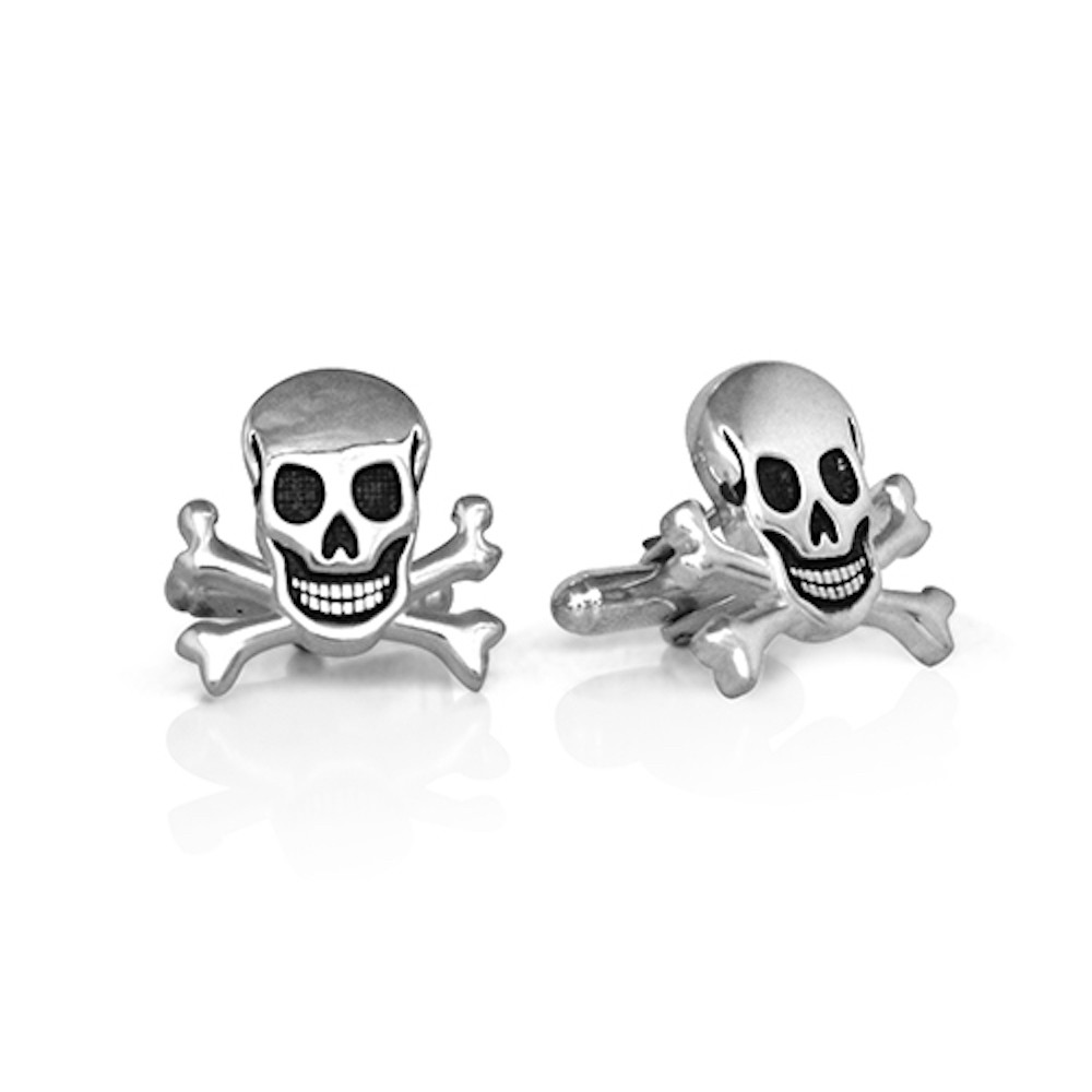 Handmade Sterling Silver Jolly Roger Skull and Crossbones Cufflinks