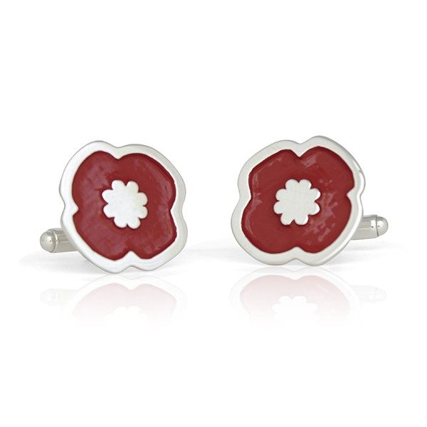 Handmade Sterling Silver Remembrance Poppy Cufflinks