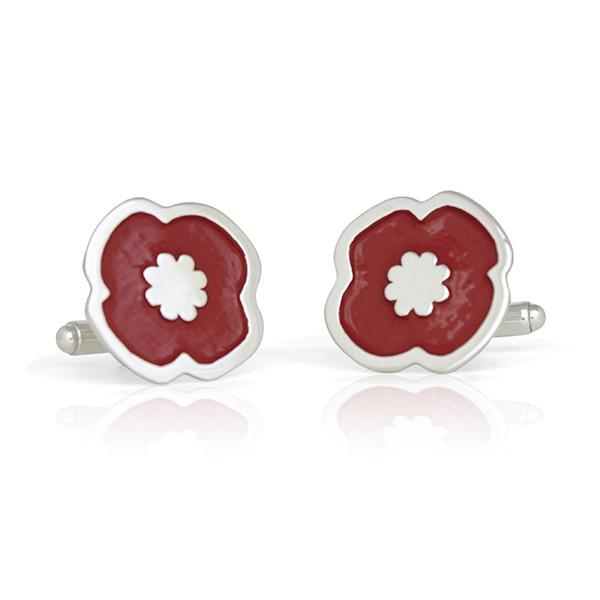 Handmade Sterling Silver Remembrance Poppy Cufflinks