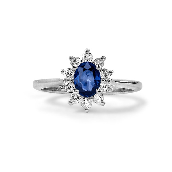 Blue Sapphire Engagement Ring with Star Halo