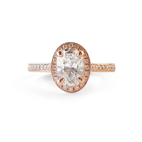 Rose Gold Halo Engagement Ring featuring Oval Diamond