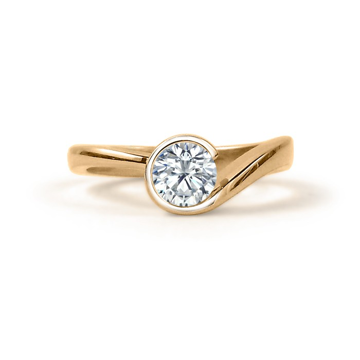 Canadian Diamond Yellow Gold Swirl Engagement Ring